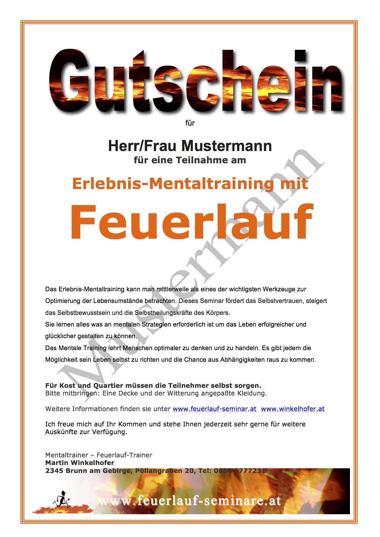 Feuerlauf Gutschein www.feuerlauf-seminar.at