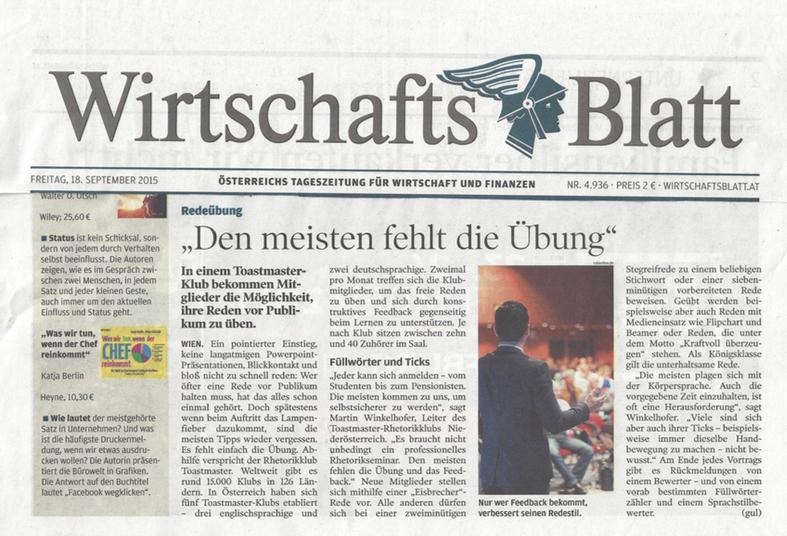 Toastmasters Niederösterr eich,Wirtschaftsblatt