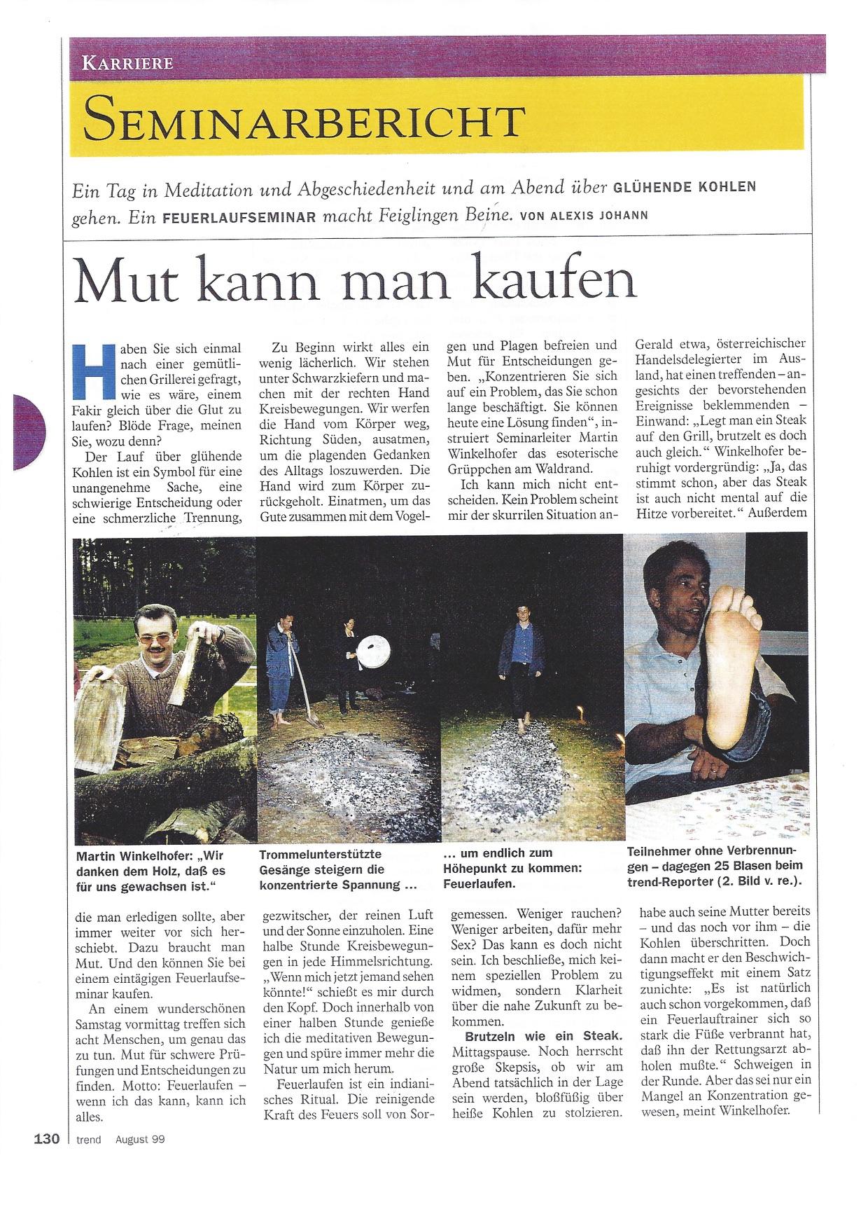Trend Seminarbericht, Feuerlauf www.feuerlauf-seminar.at