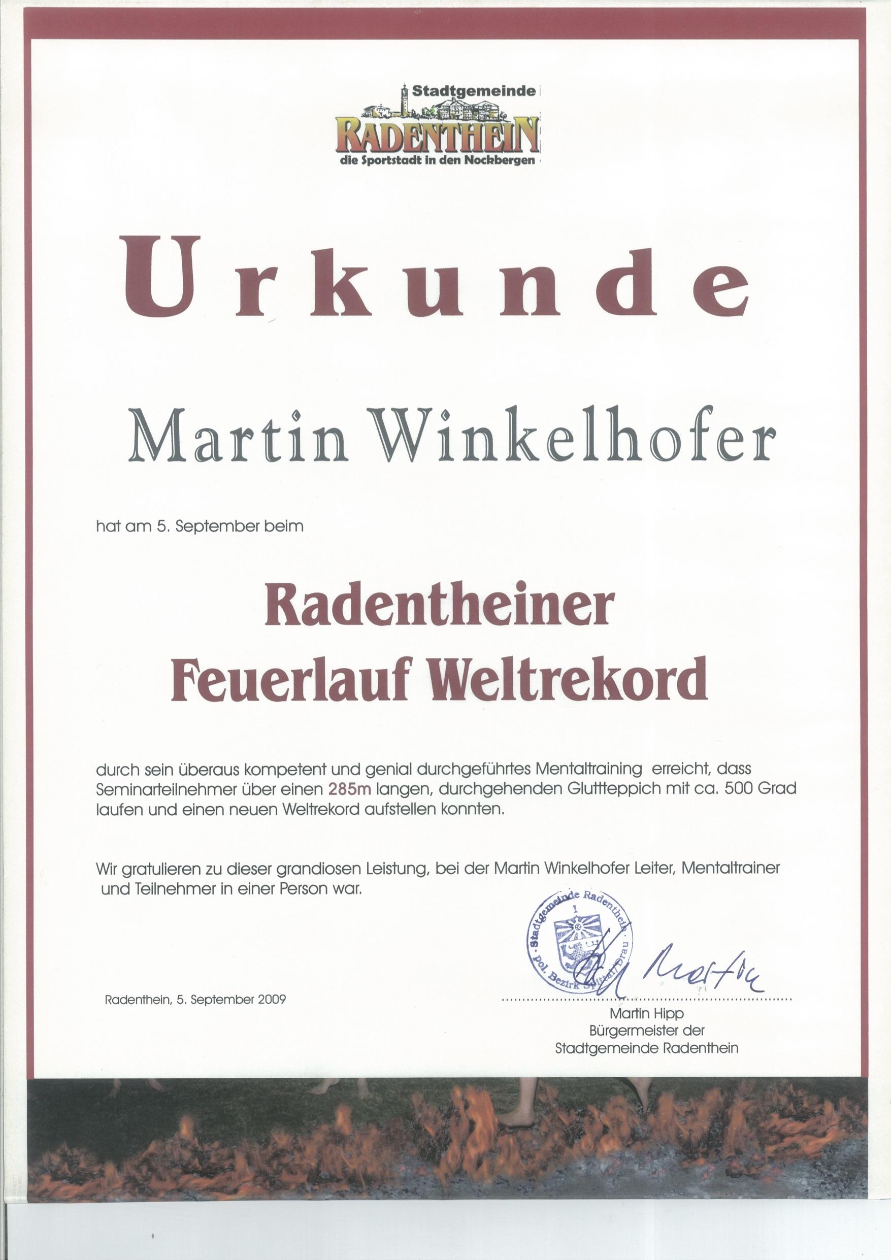 Weltrekord Feuerlauf in Radenthein/Kärnten