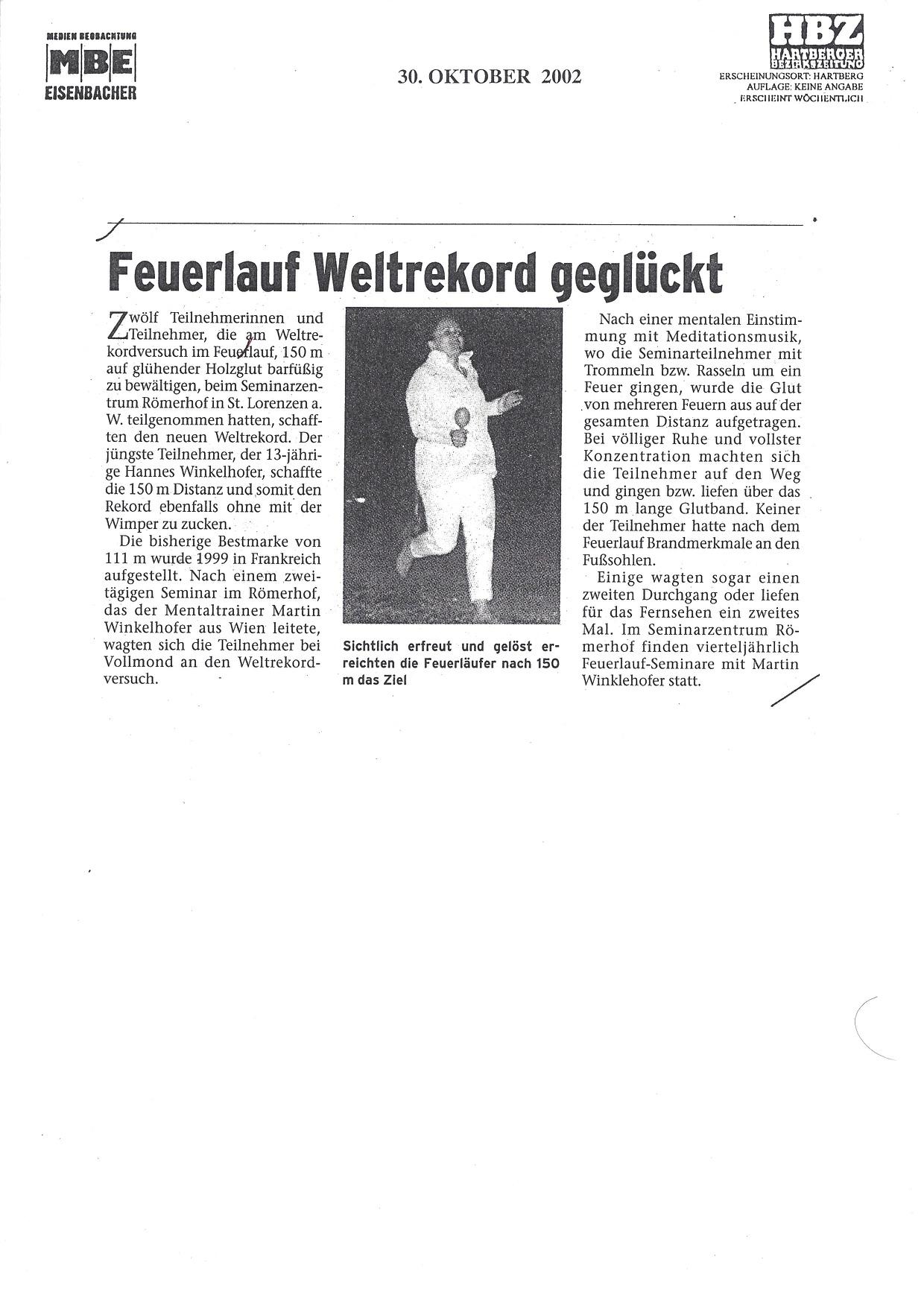 Feuerlauf - Weltrekord Martin Winkelhofer