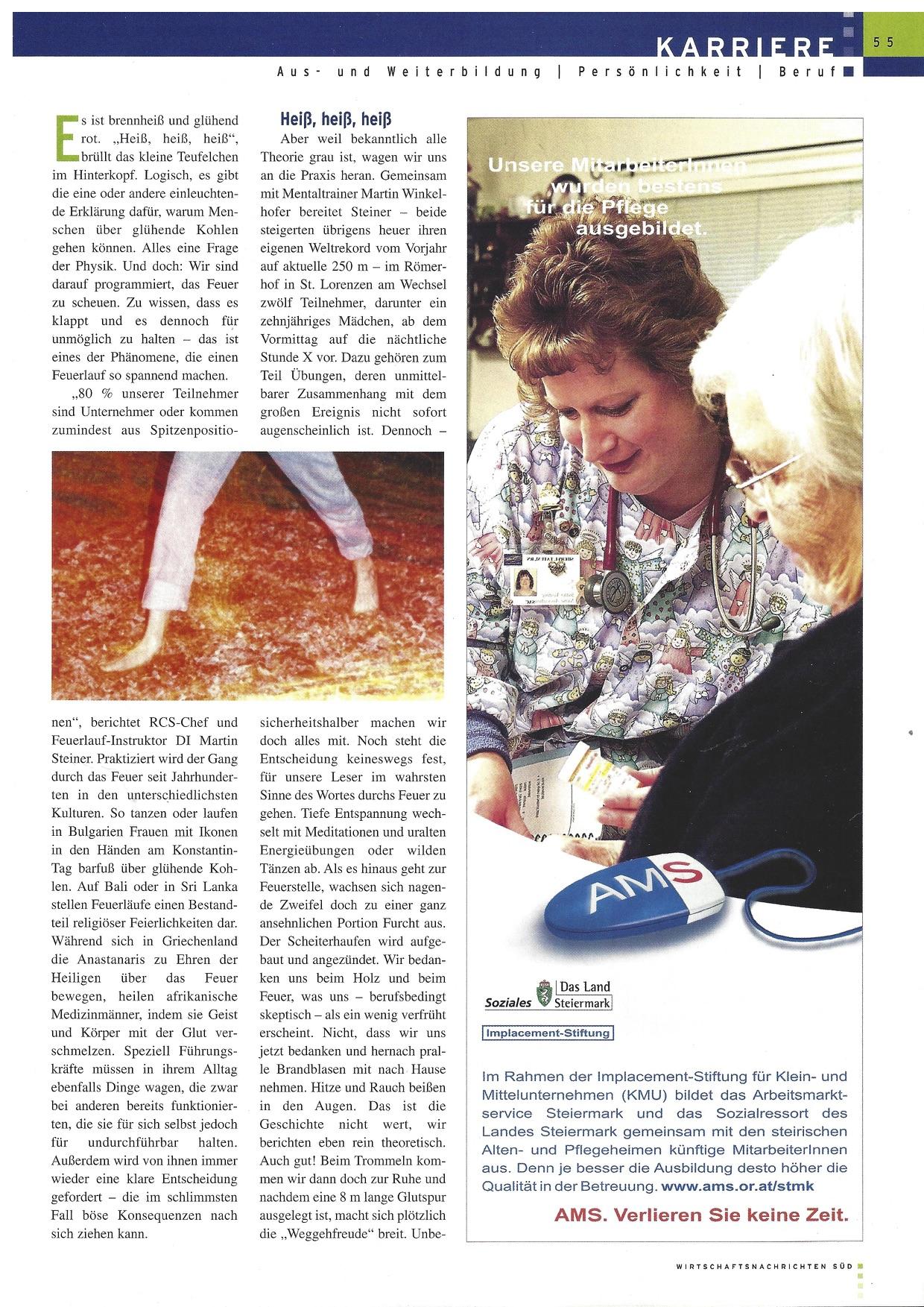 Wirtschaftsnachrichten SÜD www.feuerlauf-seminar.at